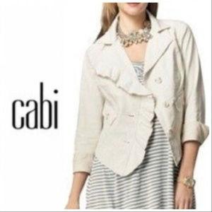 CAbi #325 Ivory Waxed Linen Ruffle Jacket Sz Small